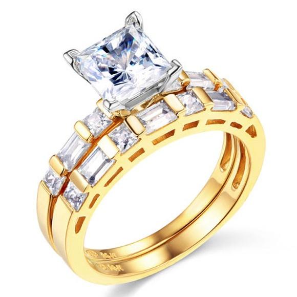TGDJ Jewelry - 14k 1.25 CT Princess-Cut & Side Baguette CZ Ring